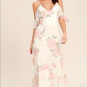 Lulus ivory floral maxi dress